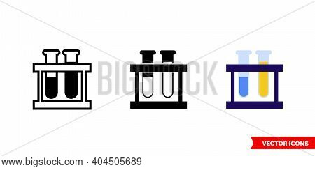 Test Tube Rack Icon Of 3 Types Color, Black And White, Outline. Isolated Vector Sign Symbol.