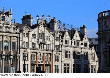 London, Uk - City Skyline Of Trafalgar Square And Whitehall Street.