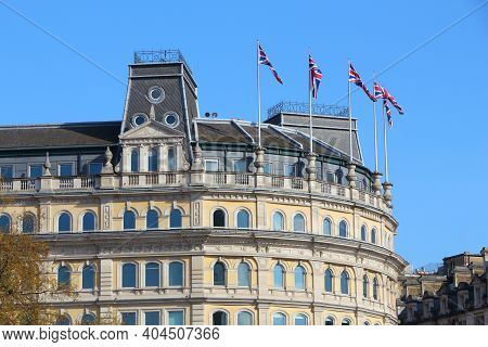 Trafalgar Square, London Uk. Grand Buildings, Built In 1880s.