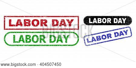 Labor Day Grunge Seal Stamps. Flat Vector Scratched Stamps With Labor Day Phrase Inside Different Re