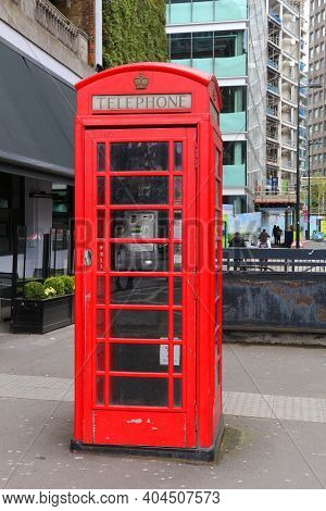 London, Uk - April 23, 2016: Telephone Booth In London, Uk. London Is The Most Populous City In The