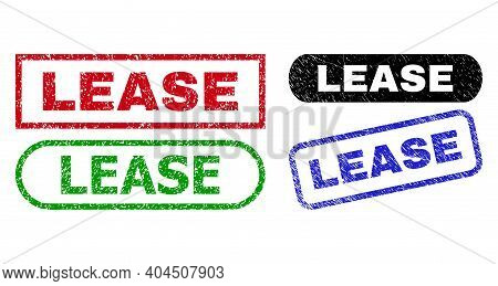 Lease Grunge Seal Stamps. Flat Vector Grunge Stamps With Lease Caption Inside Different Rectangle An