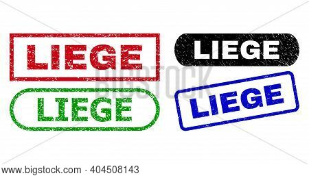Liege Grunge Watermarks. Flat Vector Grunge Watermarks With Liege Text Inside Different Rectangle An