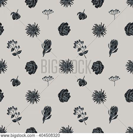 Seamless Pattern With Hand Drawn Stylized Viburnum, Hypericum, Tulip, Aster, Leucadendron, Amaryllis