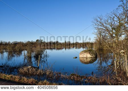 Wetland With Blue Water And Blue Sky On The Island Oland In Sweden