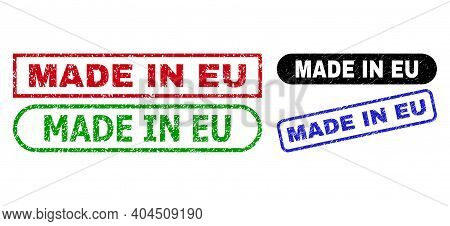 Made In Eu Grunge Stamps. Flat Vector Grunge Stamps With Made In Eu Tag Inside Different Rectangle A