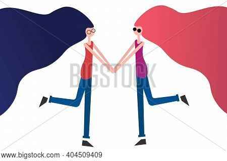 Happy Valentines Day. Lgbt. Lesbian Couple And Homosexual Relationship Concept. Template For Backgro