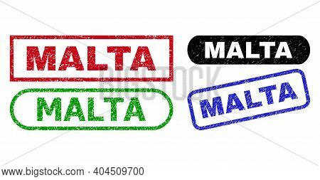 Malta Grunge Watermarks. Flat Vector Grunge Stamps With Malta Title Inside Different Rectangle And R