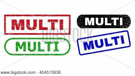 Multi Grunge Stamps. Flat Vector Textured Stamps With Multi Text Inside Different Rectangle And Roun