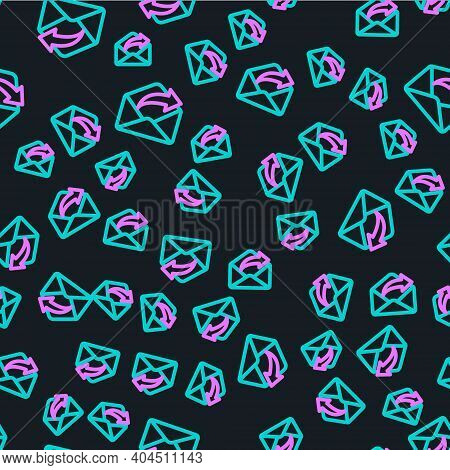 Line Outgoing Mail Icon Isolated Seamless Pattern On Black Background. Envelope Symbol. Outgoing Mes