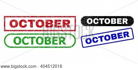 October Grunge Seal Stamps. Flat Vector Grunge Seal Stamps With October Phrase Inside Different Rect