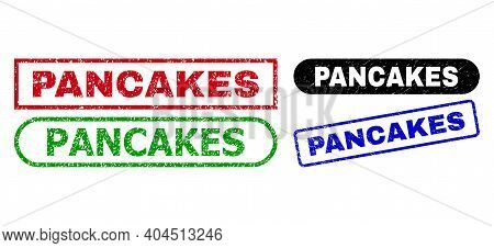 Pancakes Grunge Watermarks. Flat Vector Scratched Stamps With Pancakes Text Inside Different Rectang