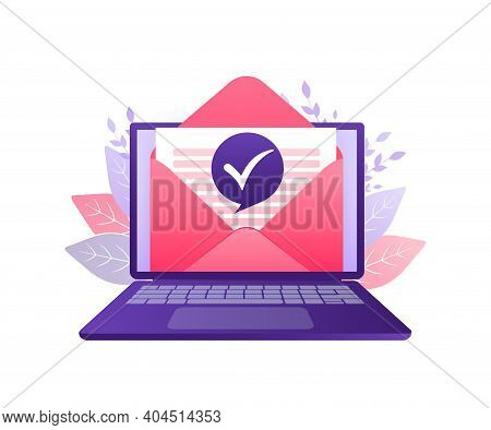 Business Illustration. Text Message. Corporate Document. Business Concept. Flat Envelope Approved Le