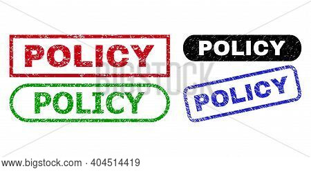Policy Grunge Seals. Flat Vector Grunge Watermarks With Policy Text Inside Different Rectangle And R