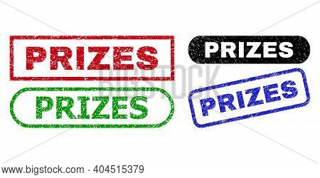 Prizes Grunge Seal Stamps. Flat Vector Scratched Seal Stamps With Prizes Tag Inside Different Rectan
