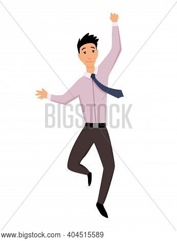 Jumping Business People. Business Man Jumps On A White Background. Vector Illustration Of A Flat Des