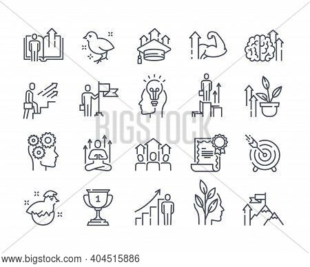Black And White Vector Icons Set Of Personal Growth And Self Development Outline Icons. Containing S