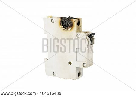 Gray Burnt Automatic Fuse Isolated On White Background