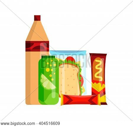 Snack Product Set. Fast Food Snacks Drinks, Chips, Juice And Sandwich Isolated On White Background.