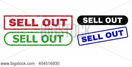 Sell Out Grunge Seals. Flat Vector Distress Seals With Sell Out Tag Inside Different Rectangle And R