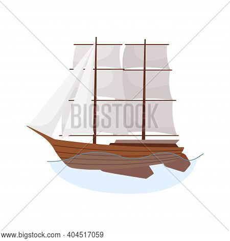 Sea Sailboats Ship Of Water Carriage And Maritime Transport In Modern Flat Design Style. Sailing Yac