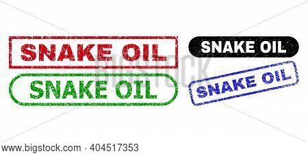 Snake Oil Grunge Seals. Flat Vector Grunge Seals With Snake Oil Caption Inside Different Rectangle A