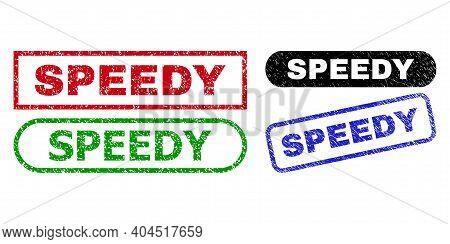 Speedy Grunge Watermarks. Flat Vector Grunge Watermarks With Speedy Message Inside Different Rectang