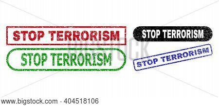 Stop Terrorism Grunge Seal Stamps. Flat Vector Scratched Seal Stamps With Stop Terrorism Tag Inside