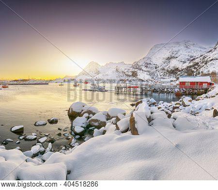 Stunning Winter Scenery Of Moskenes Village With Ferryport  . Popular Travel Destination On Lofotens