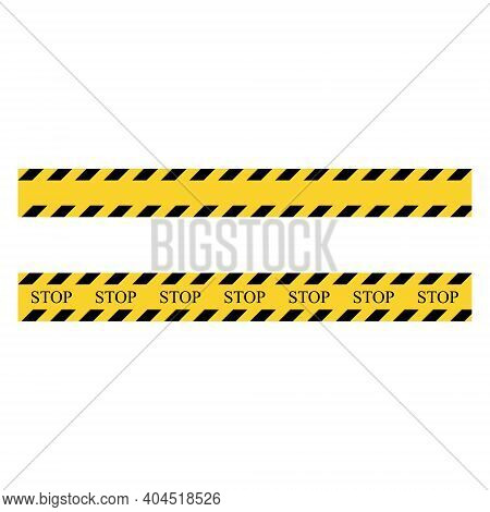 Stop Symbol Stripe. Yellow And Black Set Stripes. Barricade Construction Tape. Vector Illustration I