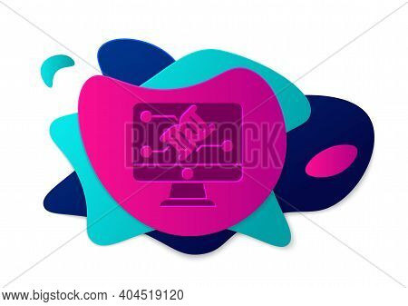 Color Genetic Engineering Modification On Monitor Icon Isolated On White Background. Dna Analysis, G