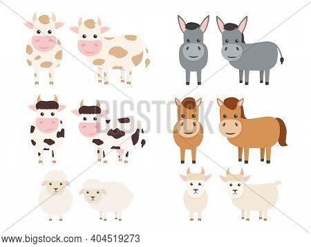 Farm Animals Set. Bull, Cow, Donkey, Horse, Sheep And Goat Flat Character. Vector Illustration Isola