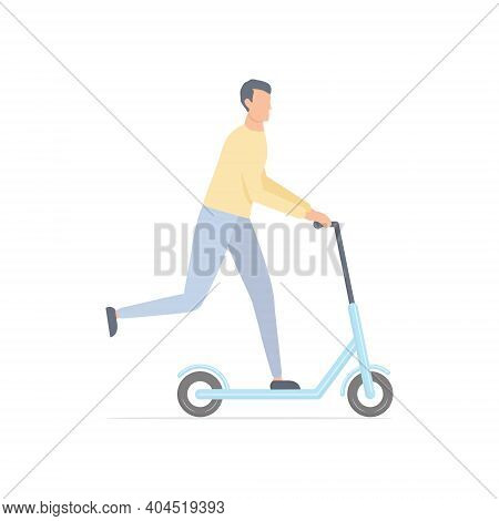 Young Cute Man On Scooter. Cartoon Guy Character Riding On Electric Scooter. Healthy Lifestyle Conce