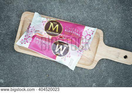 Samut Prakan, Thailand - January 23, 2021 : Ice Cream Wall Magnum Ice Cream Cherry Blossoms Flavor O