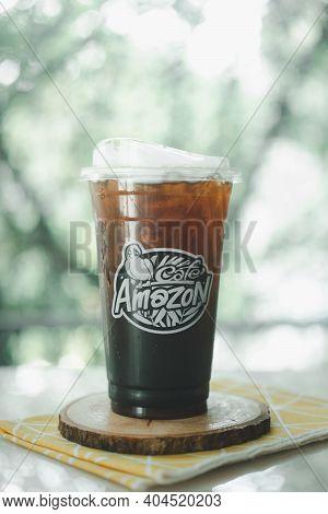Samut Prakan, Thailand - January 23, 2021: Honey Black Coffee Sweet And Mild Iced Black Coffee With