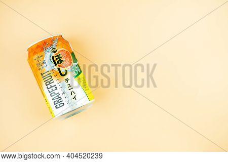 Samut Prakan, Thailand - January 23, 2021 : A Can Of Hoshi Chu-hi Grapefruit Flavor 330ml, Sweet And