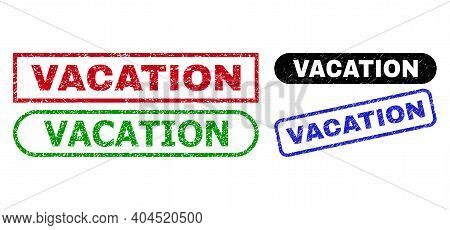 Vacation Grunge Seal Stamps. Flat Vector Scratched Seal Stamps With Vacation Title Inside Different
