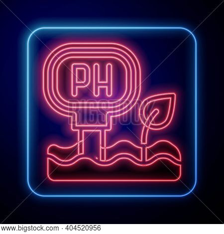 Glowing Neon Soil Ph Testing Icon Isolated On Blue Background. Ph Earth Test. Vector