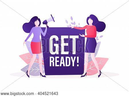 Get Ready People In Flat Style. Vector Illustration Background. Banner Promotion. Vector Flat Illust