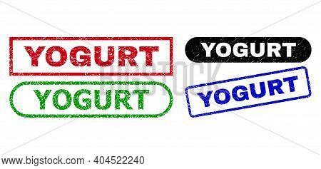Yogurt Grunge Seal Stamps. Flat Vector Grunge Seal Stamps With Yogurt Slogan Inside Different Rectan