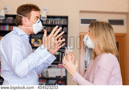 Fighting Couple In Quarantine With Masks On