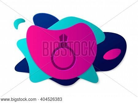 Color Fantasy Magic Stone Ring With Gem Icon Isolated On White Background. Abstract Banner With Liqu