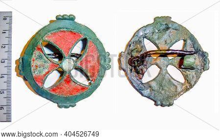 Antique Brooch With Enamel 3-5 Century Ad Eastern Europe, Early Slavs, Barbarian Enamels