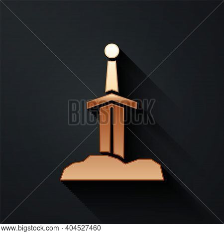 Gold Sword In The Stone Icon Isolated On Black Background. Excalibur The Sword In The Stone From The