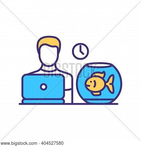 Home Interior Rgb Color Icon. Goldfish In Fishbowl. Gold Fish In Aquarium On Table. Pet Service. Dom