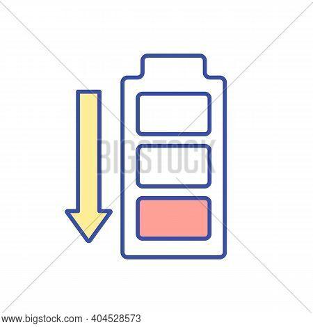 Low Battery Energy Rgb Color Icon. Vitamin Deficiency Symptom. Chronic Fatigue Syndrome. Depression