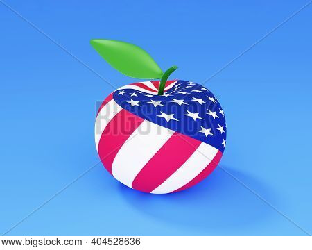 An Apple With American Flag, 3d Render