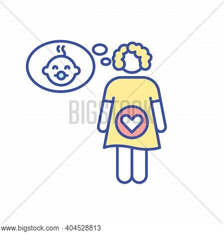 Pregnant Woman Rgb Color Icon. Expecting Mother Thinking Of Baby. Maternity Experience. Motherhood A