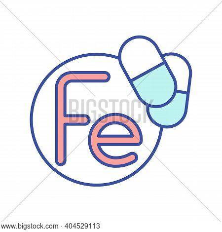 Fe Vitamin Rgb Color Icon. Multivitamin Complex. Mineral In Medicament. Pill, Pharmaceutical Treatme
