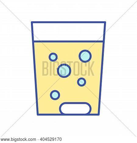Fizzy Vitamin Pill Rgb Color Icon. Multi Mineral Complex In Powder. Cup Of Soluble Medicament. Healt